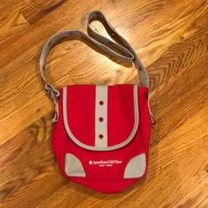 American Girl Girls NY store red canvas purse EUC